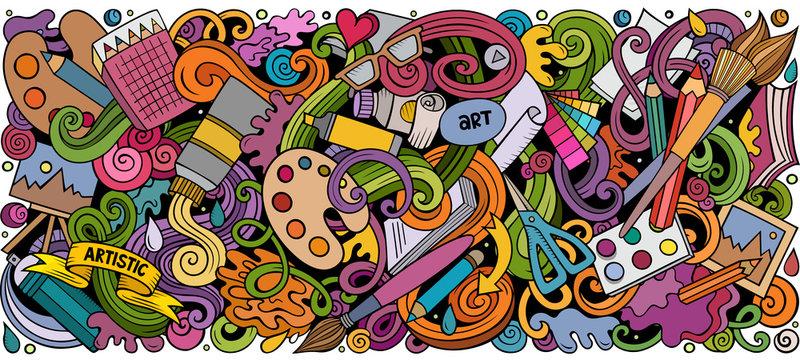 Cartoon doodles Art and Design horizontal stripe illustration