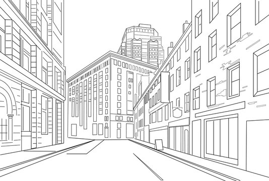 Outline sketch vector of an town city with signs and straight architecture