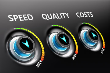 Efficiency as business strategy of product and service improvement, a switch buttons with increased values of speed and quality and reduced costs