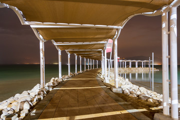 Creative image of the  Dead Sea at night