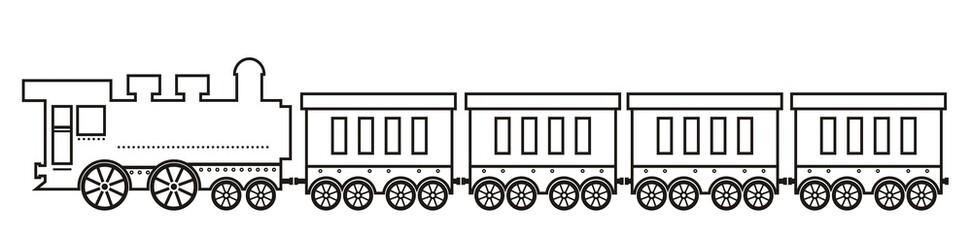 Steam locomotive with wagons. Black and white vector illustration, coloring book.