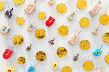 religion concept of jewish holiday Hanukkah with dreidels colection (spinning top) over white background