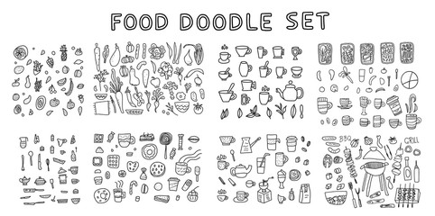 Set of doodle icon. Hand drawn illustration.