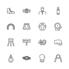 Boxing and Fighting - Flat Vector Icons