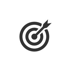 Target icon. Target symbol with arrow isolated on white background. Vector EPS 10