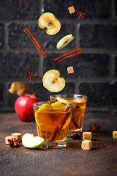 Spicy apple cider, autumn drink