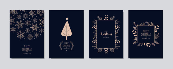 Wall Mural - Merry Christmas modern elegant card set with frame banner greetings and golden fir pine branches on blue background