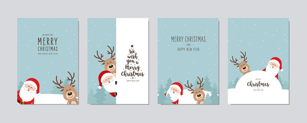 Wall Mural - Christmas card set. Merry Christmas and Happy New Year greeting cute santa and red nose reindeer cartoon lettering vector.