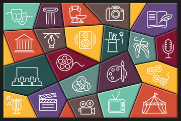 Arts and Entertainment icon set. Collection of vector icons with editable stroke - fototapety na wymiar