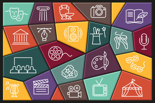 Arts and Entertainment icon set. Collection of vector icons with editable stroke