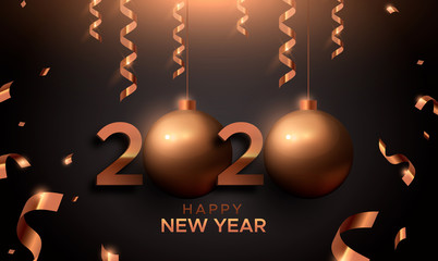 Wall Mural - New Year 2020 gold copper card of 3d holiday ball