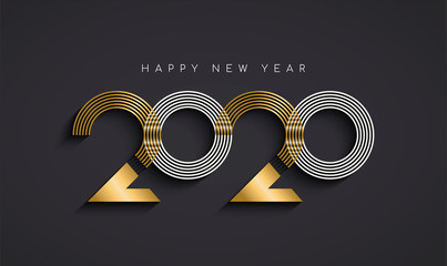 New Year 2020 abstract number date gold card Fotomurales