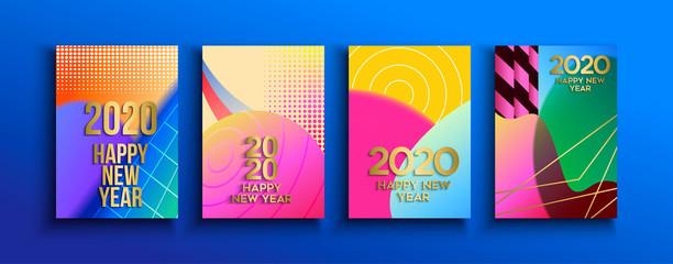Wall Mural - New Year 2020 abstract retro greeting card set