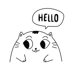Illustration of a cute kitty. Vector. Contour cute cat. Flat kawaii style. Hero for the comic book. Mascot for the company, drawing for a t-shirt and greeting card.