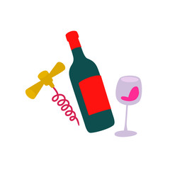 Illustration of a bottle of wine, a glass and a corkscrew. Vector. Sticker for wine drinks. Icon for website and label. Badge for wine lovers.
