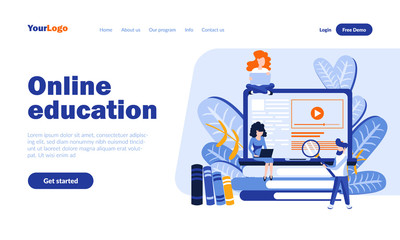 Online education vector landing page template with header. Educational program app web banner, homepage design with flat illustrations. Modern schooling system. E learning, study concept