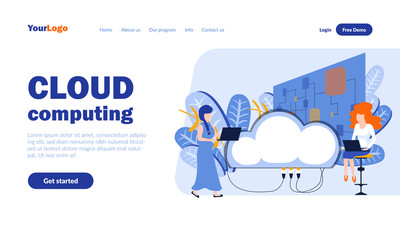 Cloud computing vector landing page template with header. Server, hosting web banner, homepage design with flat illustrations. Internet resource, database, online data storage concept