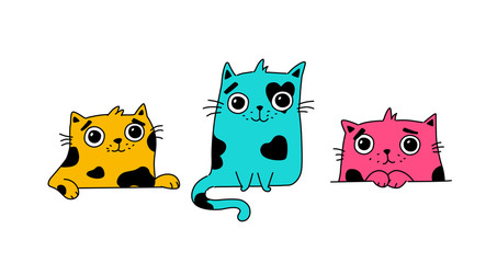 Illustration of a cute kitty.  Colored cute cats. Flat kawaii style. Heroes for postcards. Mascot for the company, drawing for t-shirts and greeting cards.