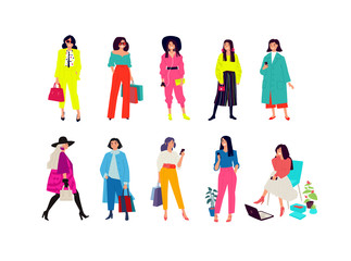 Illustration of a young fashionable girls. Vector. Women shoppers and shopaholics. Ordinary girls with phones isolated on a white background. Flat style. Posing girls.