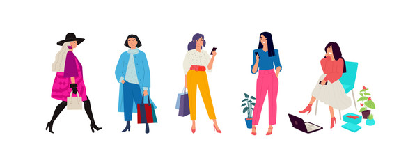 Illustration of fashionable girls in bright clothes. Women go about their business. Casual style of dress. Flat style. Image is isolated on a white background.