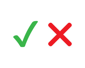 Checkmark cross vector symbol on white background. Yes no or accepted not accepted symbol. Green and red icons in flat. EPS 10