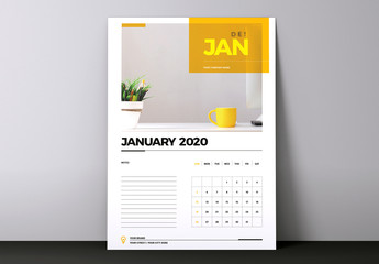 Business Calendar Layout with Yellow Accents