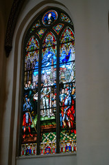 Stained Glass Windows Of The Riga Dom Dome Cathedral Church. Decorative Elements.
