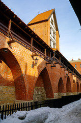 Fragment of the city wall and Ramera Tower. Winter view. Riga, Latvia