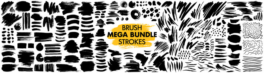 Tuinposter Vormen Mega bundle of different ink brush strokes:rectangle,square and round freehand drawings.Ink splatters,grungy painted lines,artistic design elements:waves,circles,triangles.Vector paintbrush set.