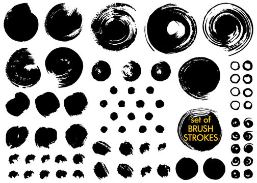 Collection of different ink brush strokes.Round freehand drawings.Ink leopard spots, grungy painted circles,dots,blots.Artistic design elements.Dirty distress texture banners.Vector paintbrush set.