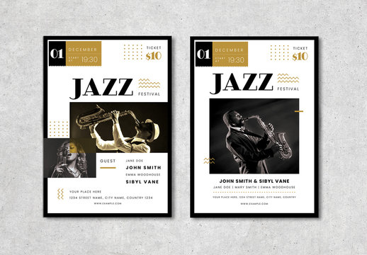 Jazz Flyer Layout with Typographic Elements