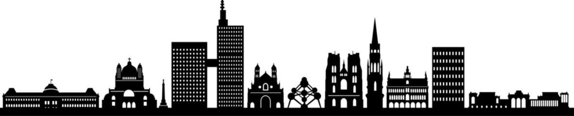 Brussels City Skyline Vector Silhouette
