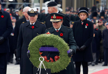 Canada's Governor General Julie Payette lays a wreath at the National War Memorial on Remembrance Day in Ottawa