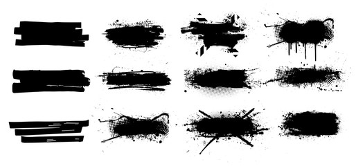 Fotobehang - Ink splashes set. High level of tracing. Black inked splatter dirt stain splatter spray splash with drops blots isolated vector grunge silhouette set. Vector grunge silhouette set color dirty liquid