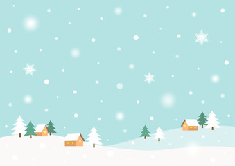 Winter rural landscape with snow.Flat style vector illustration.