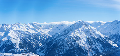 Panoramic image of snow mountains
