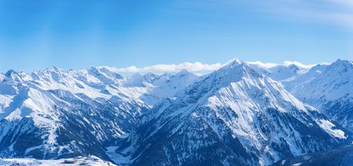 Panoramic image of snow mountains