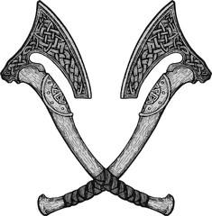 Vector image of two fighting axes of Vikings. Triskele. Illustration of Scandinavian myths. Odin sign. Runes: victory, fight, power. Celtic sacral symbol. Vector illustration.