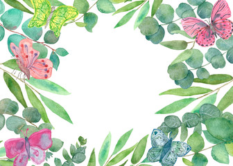 Watercolor hand painted nature romantic border frame with green eucalyptus leaves and branches, pink three butterflies on the white background for invitations and greeting card with the space for text
