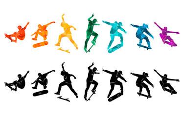 Skate people silhouettes skateboarders colorful vector illustration background extreme skateboard, skateboarding