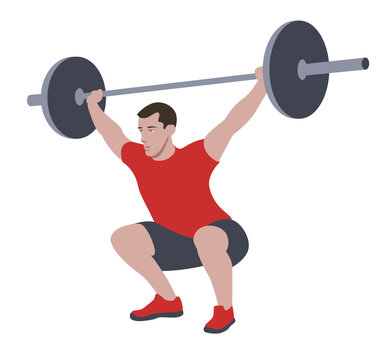 CrossFit workout training for open games championship. Sport man training Olympic heavy weight barbell squat snatch exercise in the gym for healthy beautiful body shape motivation.