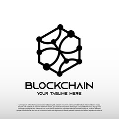 Blockchain logo with line art concept. future technology sign or symbol. cryptocurrency -vector