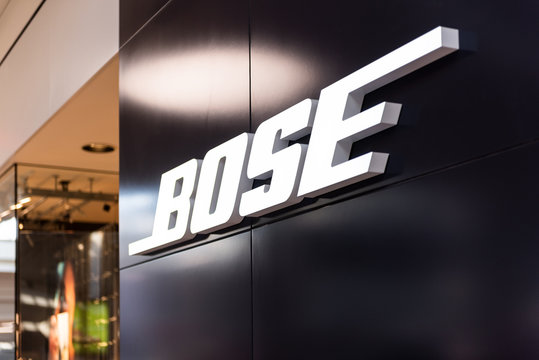 Tysons Corner, USA - January 26, 2018: Bose headphones store, shop, facade, storefront, door entrance with nobody in shopping mall in Virginia