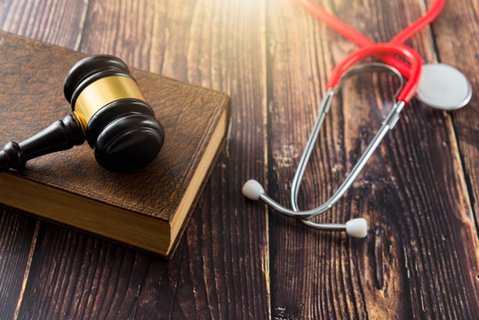 Gavel as a symbol of medical justice, applied by doctor judges, trend in 2020.