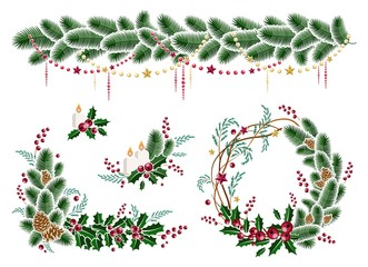 Christmas winter holiday decoration. Christmas wreath, garland, Christmas candles. Design element festive poster, greeting cards, invitations. Isolated. Vector illustration