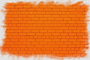 Orange wall with jagged white frame.