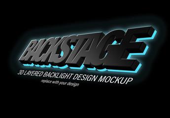 3D Black backlight text effect