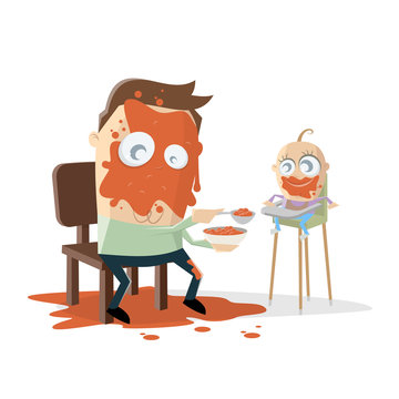 funny cartoon illustration of a dad feeding the baby