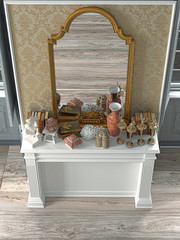 Classic interior of an aristocratic salon with mirror and sculptures, empty, vintage, 3d rendering, 3d illustration