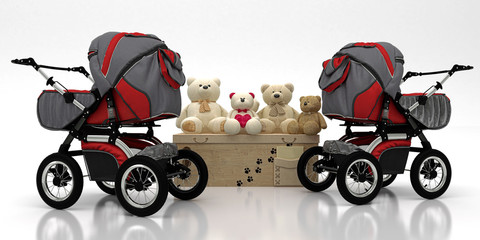 Childcare set, stroller with soft toys and teddy bears isolated on white background, 3d rendering, 3d illustration